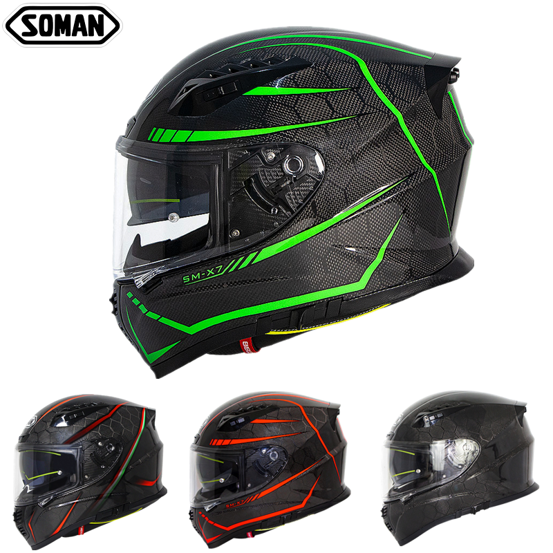 SOMAN ECE Carbon Helmet Cool Fluorescent Line Street Helmet Men Racing Motorcycle Helmets Custom 24K Carbon Fiber Casco Moto