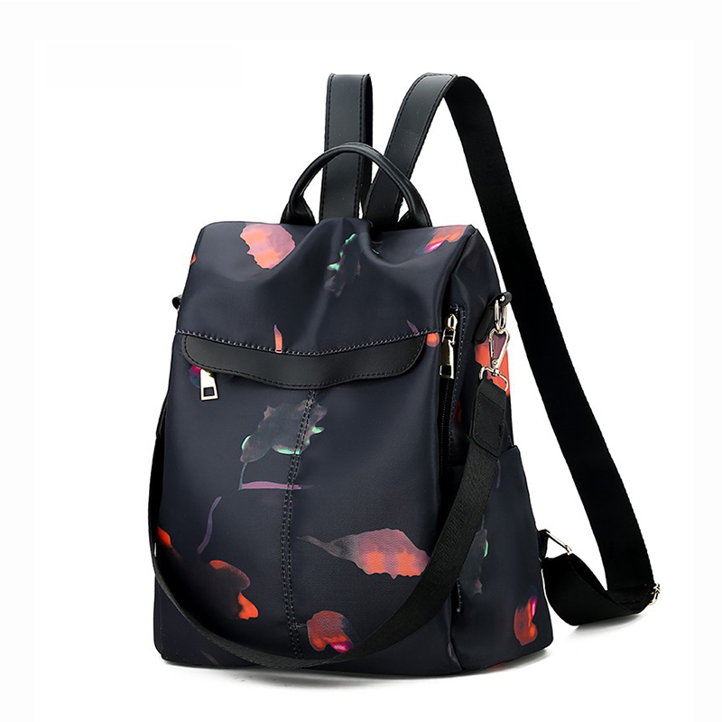 Casual Women's Backpack Large Capacity Oxford Cloth With Flowers Female Classic Anti-theft Knapsack Black Waterproof