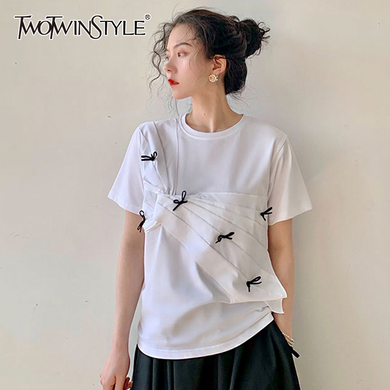 TWOTWINSTYLE Causal Asymmteircal T-shirts For Female O Neck Short Sleeve Loose Hit Color Patchwork Bow Ruched T Shirt Women Tide