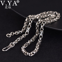 V.YA 5mm Chain Men Women 100% 925 Sterling Silver Necklace Pendant Vintage Jewelry Thai Silver Necklace