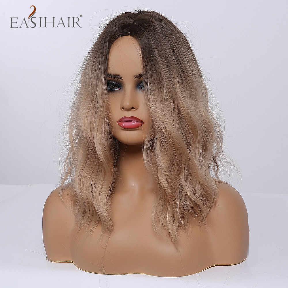 Easihair médio ombre preto marrom onda perucas de cabelo sintético parte do meio cosplay fibra resistente ao calor perucas femininas para mulher