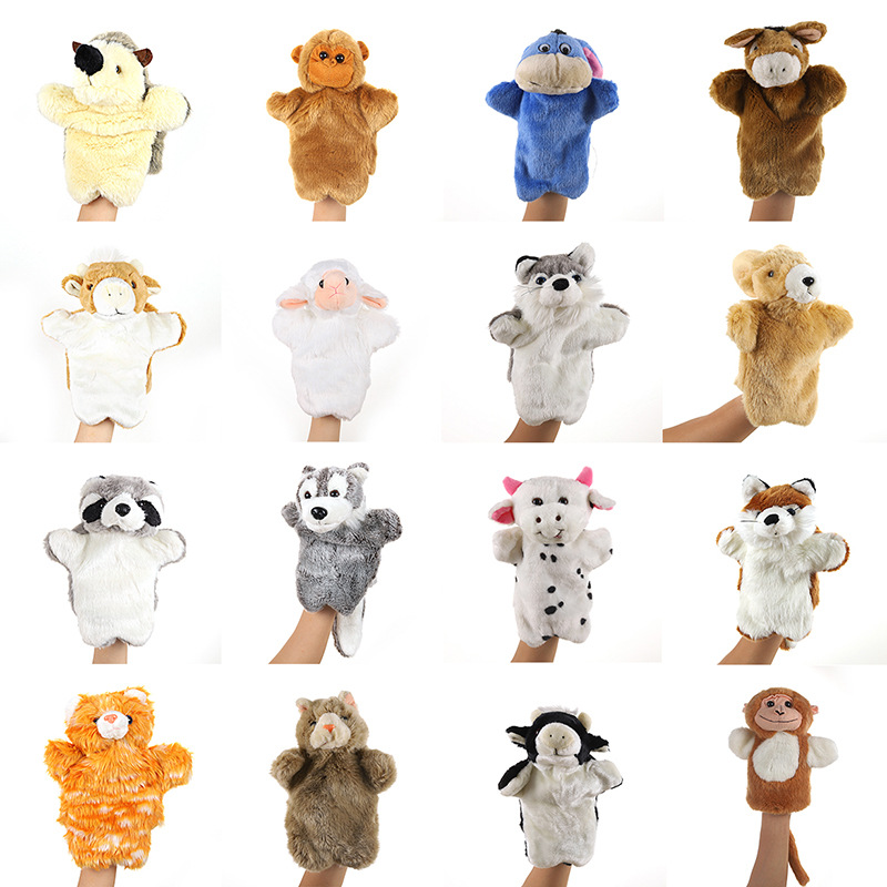 28 styles Animal Bear  Hand Puppet cat Dolls Plush Hand Doll early education Learning Toys children Puppets for telling story