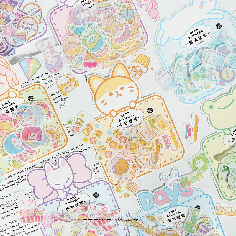 Mohamm Acrive Gril Series Kawaii Cute Sticker Custom Stickers Diary Stationery Flakes Scrapbook DIY Decorative Stickers 40PCS