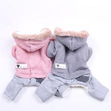Теплое пальто для собак, кошек, зимняя куртка для питомцев, щенков, флисовые комбинезоны с капюшоном для собак, кошек, 5 размеров