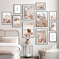 Beige Reed Dandelion Grass Cow Natural Wall Art Canvas Painting Nordic Posters And Prints Wall Pictures For Living Room Decor