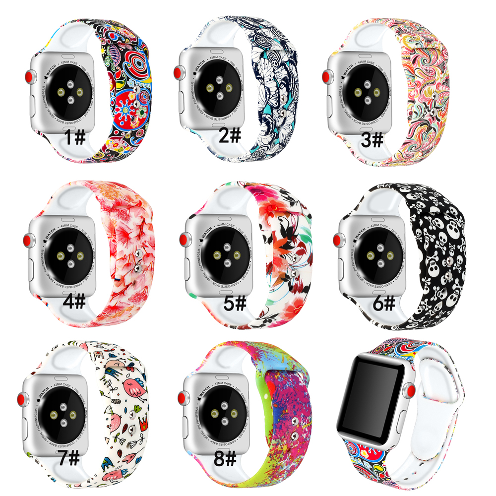 Women Strap For Apple Watch4 Band Pulseira Silicone Strap 44mm 40mm Iwatch5 4 3band 42mm 38mm Correa Popular Printing  Bracelet