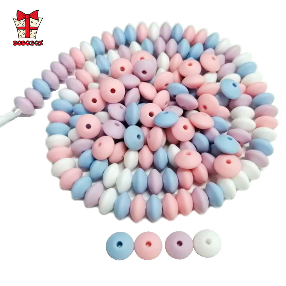 BOBO.BOX 12mm 100pcs Silicone Lentil Beads Food Grade Teether Pearl Chews Pacifier Chain Clips Beads Silicone Baby Teething Toys