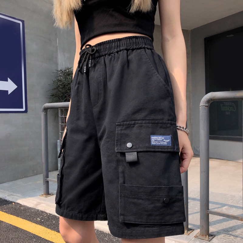 Hip Hop Cargo Shorts Women Solid High Waist Harajuku Summer Capris Female 2020 Streetwear Black Khaki Pockets Lady Shorts Cool