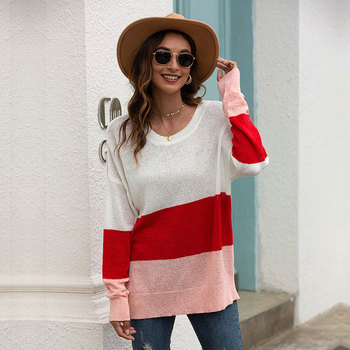 2020 New Autumn Thin Striped Knitted Pullovers Sweater Women Loose Office Lady O-neck Full Sleeve Sweater Female Casual new arrival casual spring autumn loose sweater pullovers women long sleeve patchwork knit top female o neck geometric sweater