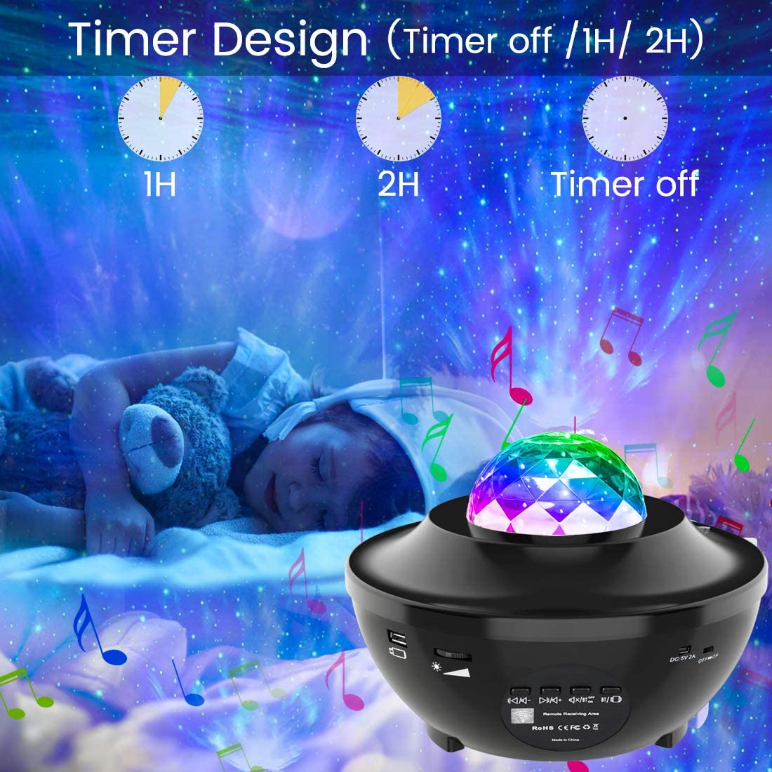 Night Light Projector Ocean Star Projector Night Light Projector With Bluetooth Music Speaker For Bedroom/Game Room/Home Theatre
