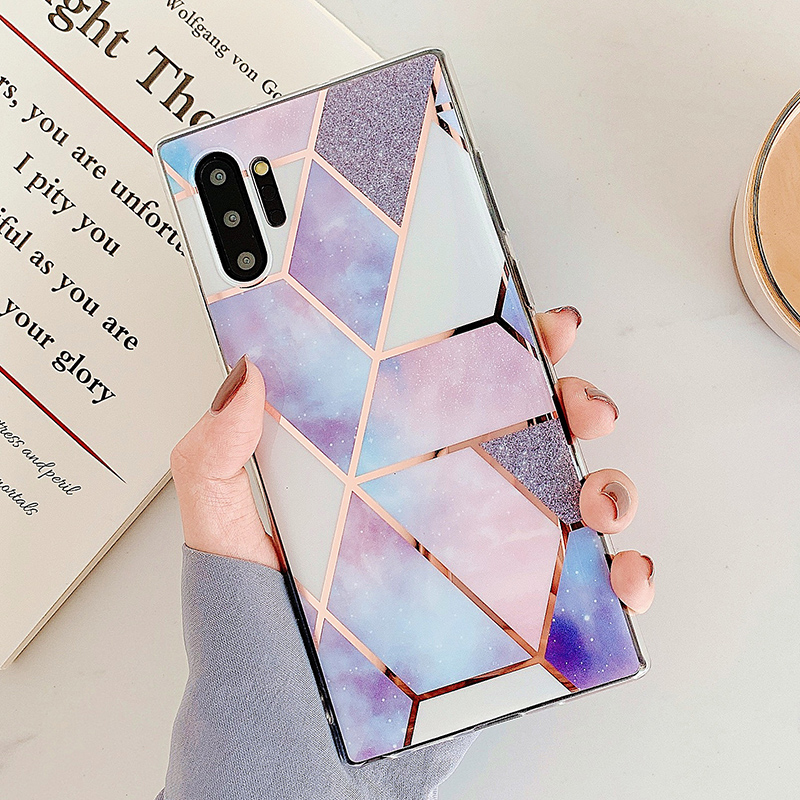 For Etui Samsung S10 Case Marble Phone Case Na For Samsung Galaxy S 10 Plus S10e S8 S9 Plus Fundas Geometric Soft Silicone Cover