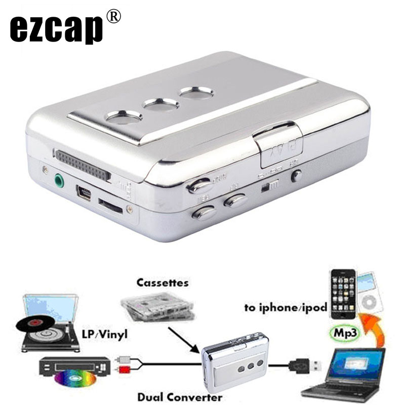 Ezcap 218B USB Audio Capture Old Cassette Tape Converter To MP3 Format CD Player English Songs Walkman Player with Auto Reverse
