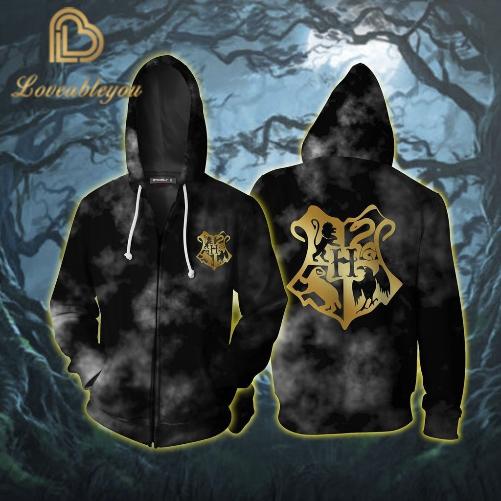 New Slytherin Hufflepuff Gryfindor Ranenclaw Cosplay Costume Men Women 3D Hoodies Sweatshirts Trackusits Casual Zip Up Jacket