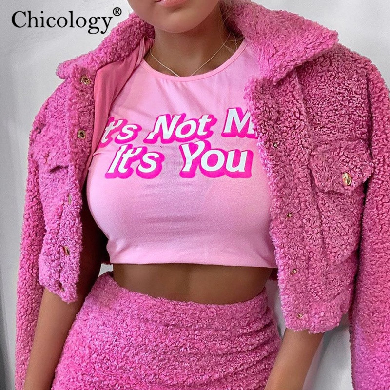 Chicology pink cotton letter print T-shirt sexy corp top short sleeve cute tshirt women 2019 autumn winter clothes streetwear(China)