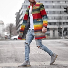 Men Trench Coat Rainbow Stripes Slim Single Breasted Turn-down Collar Long Sleeve Fall New Fashion Mens Coat Lugentolo