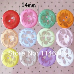 100pcs/lot Charm Round Plastic Resin Mixed Color Buttons For Craft Garment Shirt Buttons scrapbook sewing accessories 14mm