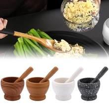 Molinillo de madera para prensar ajos, trituradora de granito, mortero, Bol de molienda, recipiente de mezclas, herramienta de cocina