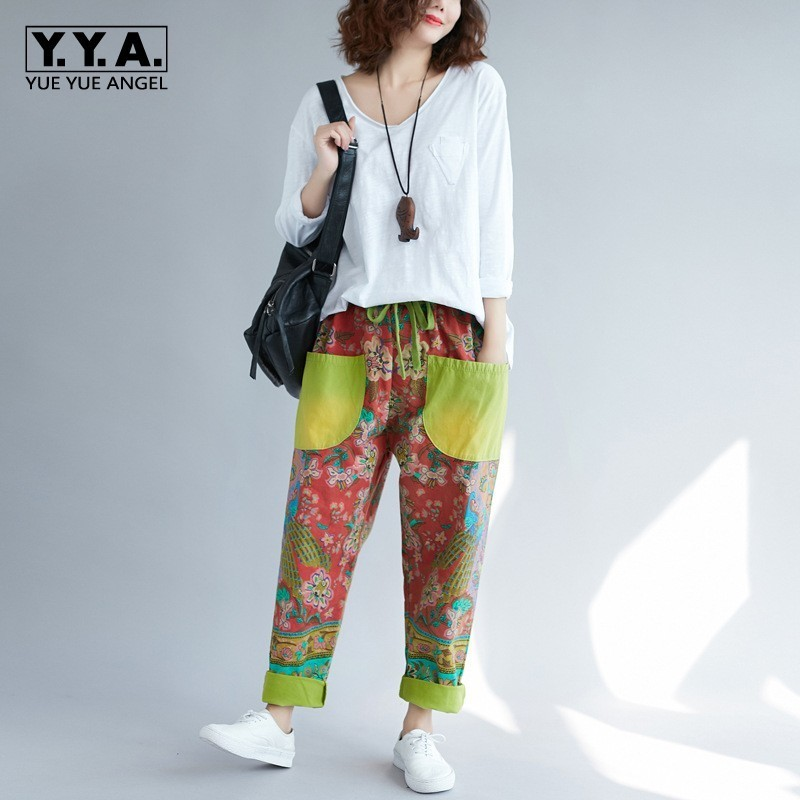 Indie Folk Printing Womens Drawstring Waist Cross Pants Color Patchwork Vintage Full Length Casual Loose Female Denim Trousers