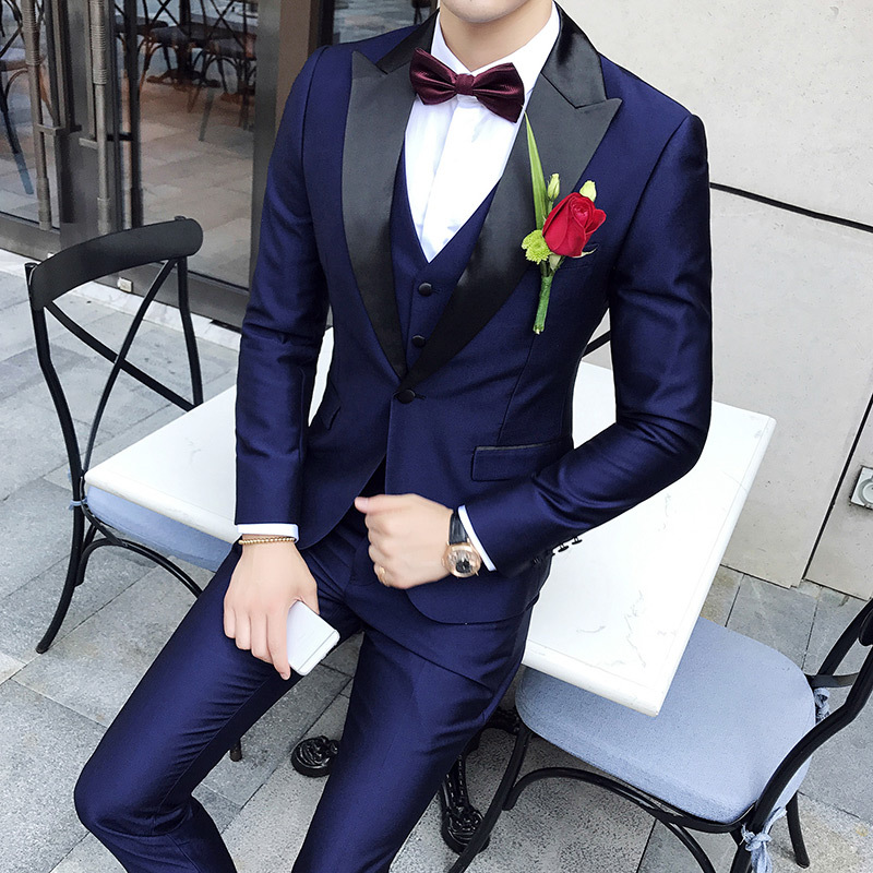 Shawl Collar Suits Men 2020 Slim Fit Latest Mens Wedding Suits Smoking Homme Mariage 3 Pieces Dinner Party Prom Violet Suit