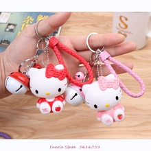 2020 hot cute pvc cute cat doll keychain leather rope key holder metal bell key chain keyring charm bag auto pendant gift Fashion Metal Matching Color Bell Kt Cat Keychain Female Cute Car Key Chain Lovers Bag Pendant Wholesale Keyring