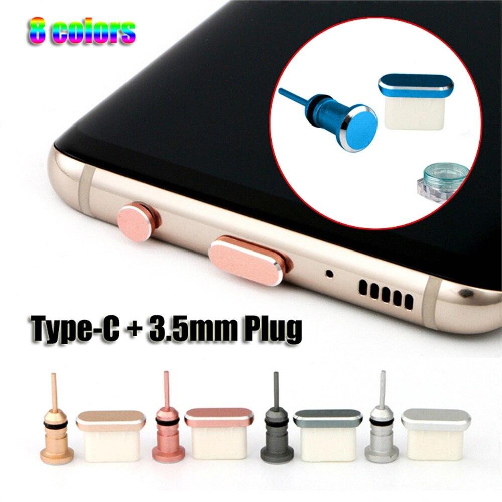 Conjunto de enchufe Anti-polvo tipo C, puerto USB tipo-c y conector Jack de 3,5mm para auriculares para Samsung Galaxy S9 S10 Plus, para Huawei y Xiaomi