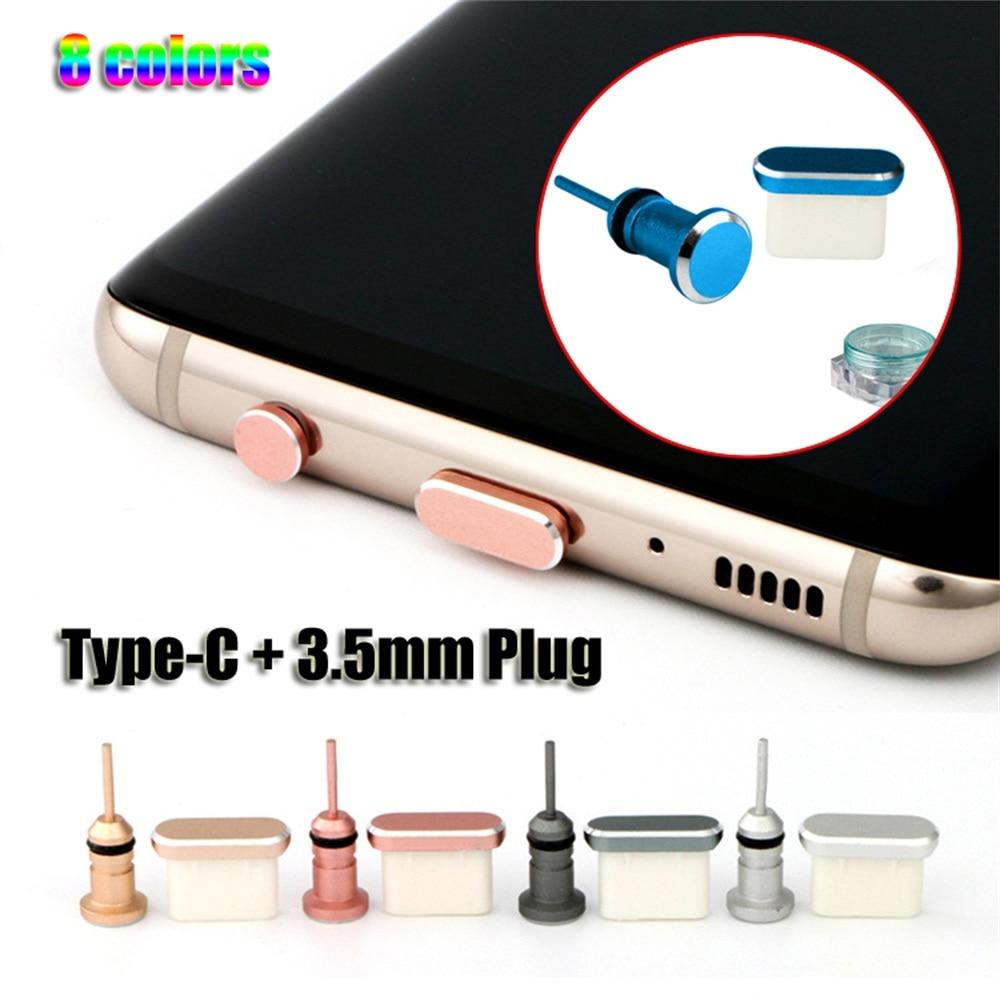 Prise Anti-poussière de Type C Port USB type-c et prise Jack pour écouteurs 3.5mm pour Samsung Galaxy S9 S10 Plus pour Huawei pour Xiaomi