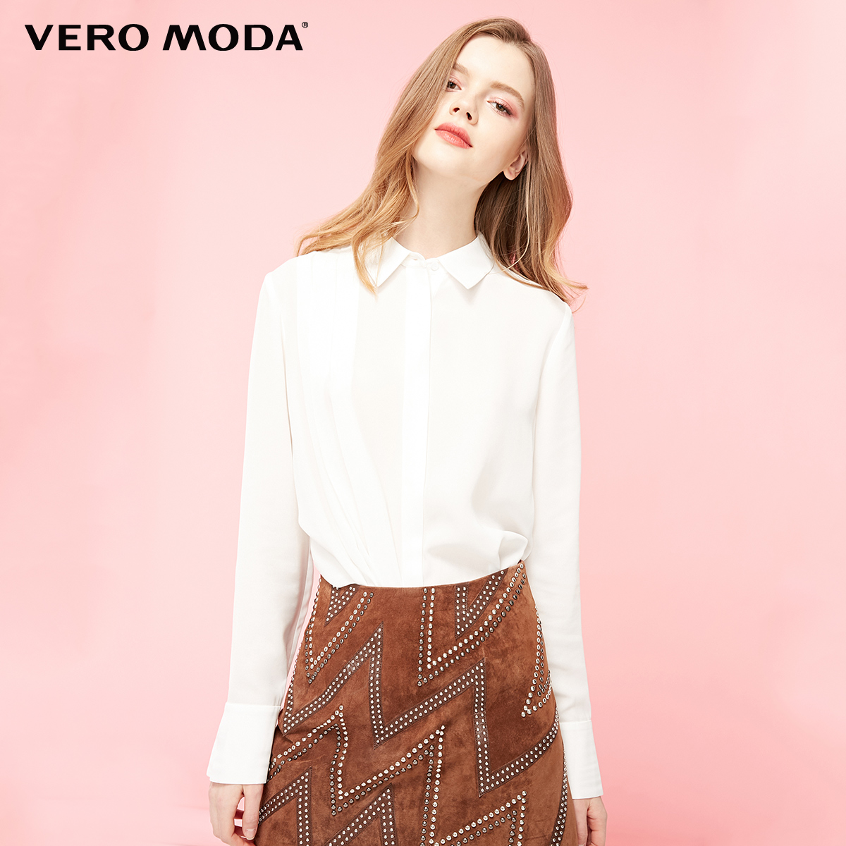 Vero Moda Women's OL Style Spliced Fabric Pleated Shirt | 319131508