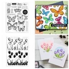 Motyl trawa tulipan wyczyść zestaw znaczków dla DIY scrapbookingu kart rzemiosło nowy 2020 Seal 09 tanie tanio CN (pochodzenie) Cutting Dies With Stamps New 2020