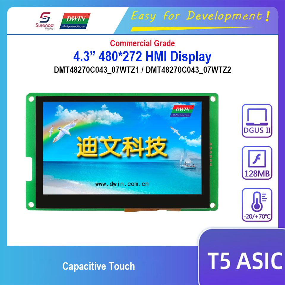 Dwin T5 HMI Display, DMT48270C043_07WTZ1 DMT48270C043_07WTZ2 4.3 RTC 480X272 LCD Module Screen Capacitive Touch Panel image
