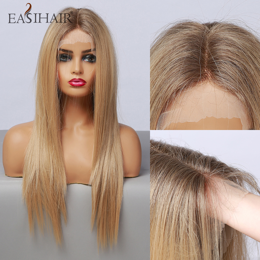 EASIHAIR Lace Front Wigs Long Straight Brown Blonde with Baby Hair High Density Heat Resistant Synthetic Wigs for Women Afro
