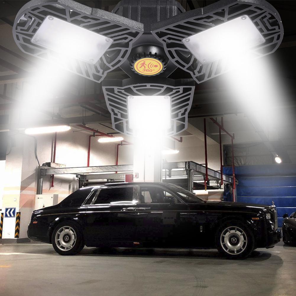 80W Led garaż lampy z czujnikiem ruchu światła odkształca się przemysł lampa E27/E26 oświetlenie Led high-bay warsztat Parking magazynu czujnik radarowy