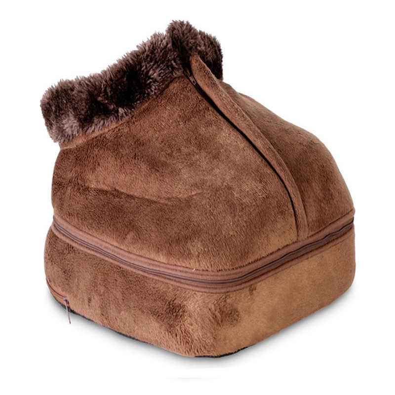 Aquecimento elétrico pé mais quente acolhedor unisex veludo pés aquecido pé mais quente massageador grande chinelo pé calor quente massagem sapatos