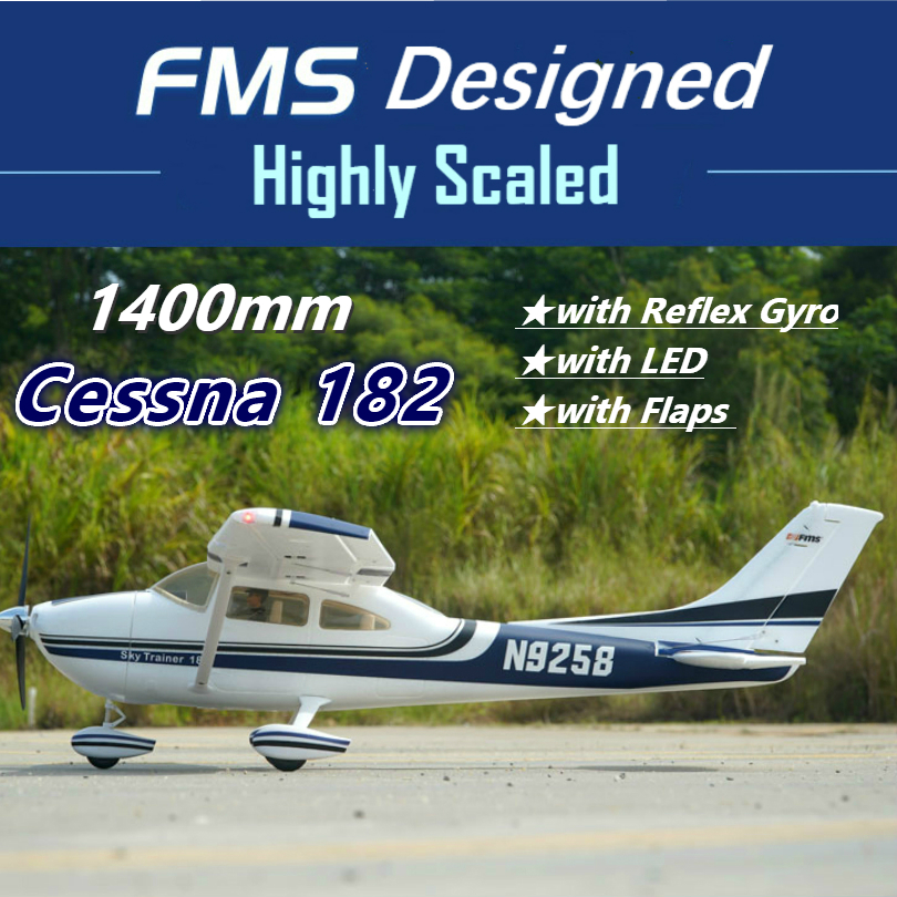 Радиоуправляемый самолет FMS звездного неба тренажер Cessna 182 1400 мм 1,4 м 5CH с клапанами светодиодный рефлекс гироскопа RTF готов к полету модель с...