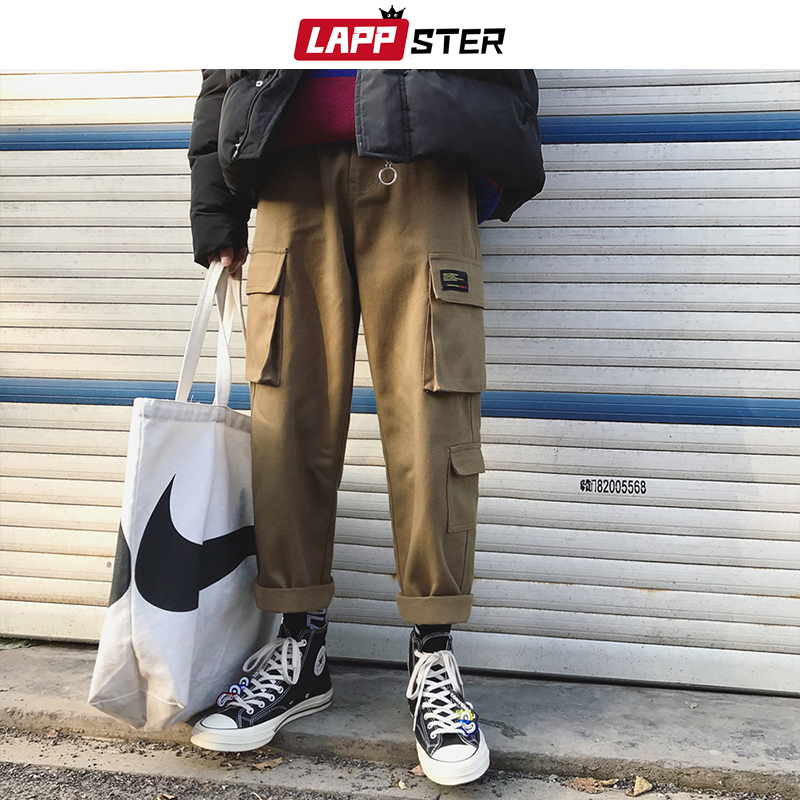 LAPPSTER Men Streetwear Cargo Pants 2019 Mens Overalls Hip Hop Joggers Thick Winter Sweatpants Male Harem Fashoins Track Pants