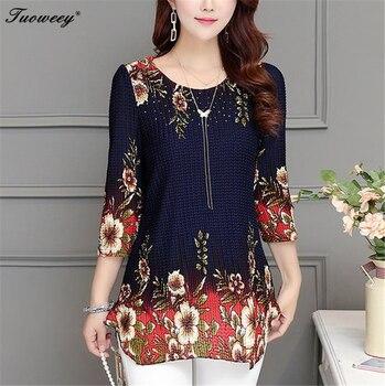 2020 New Arrival Fashion Summer Three Quarter Slim floral long Shirt Female Casual Slim Color Plus Size elegant Printed Blouse 2
