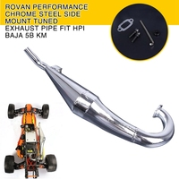 Rovan Performance Chrome Steel Side Mount Tuned Exhaust Pipe Fit HPI Baja 5B KM RC Cars Parts Accessory