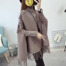 2019 new autumn and winter shawl sweater pullover bat tassel cloak sweate  women