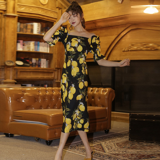 2020 Dress Women Summer Elegant Slash neck A-line Puff Sleeve Beach Vintage Long Floral Dress Party Vestito Donna Estate