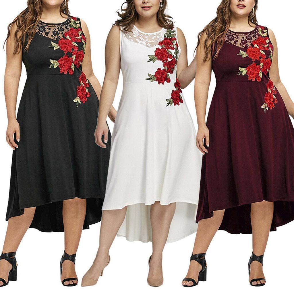 Elegant O neck Dress Woman Basic Appliques Zipper Perspective Sleeveless Ladies Dresses Large Sizes Mesh Dress Women Party