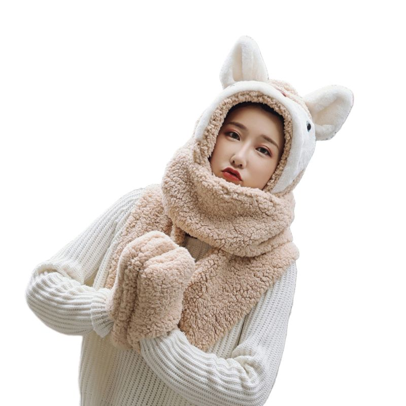 Unisex Adult Cartoon 3 In 1 Hat Gloves Scarf Animal Pattern Hoodie Earflap Cap High Quality And Brand New