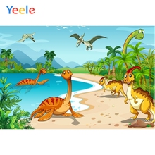 Yeele Cartoon Dinosaur Backdrop Forest Mountain Water Kids Baby Birthday Custom Vinyl Photography Background For Photo Studio