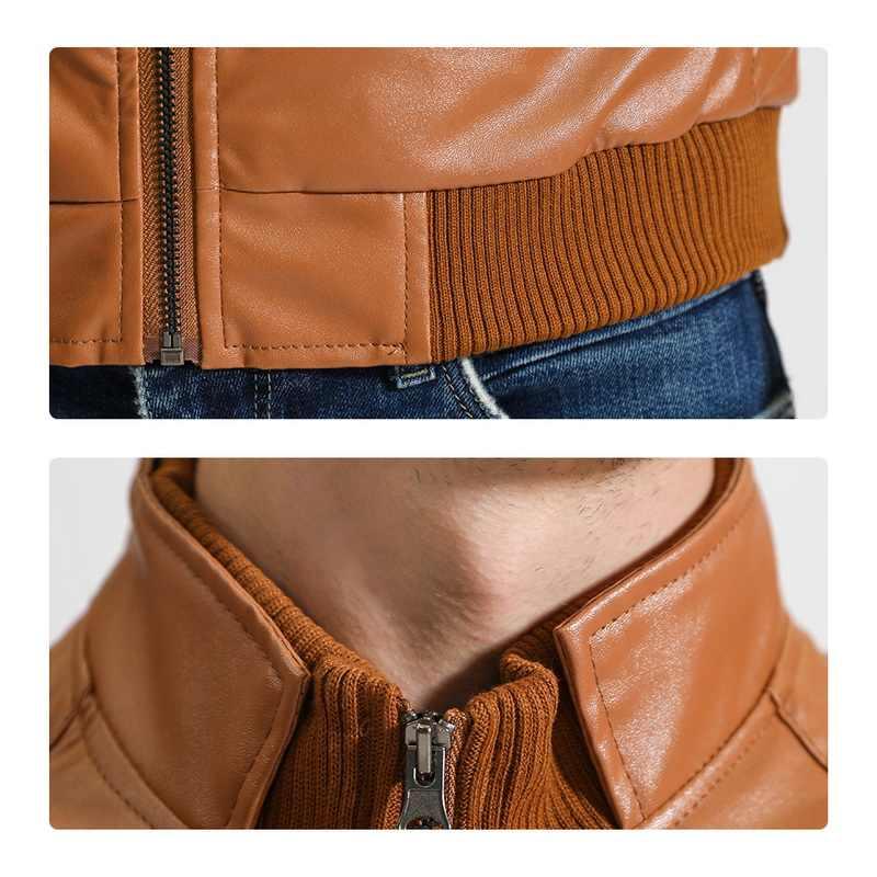 Модная куртка из искусственной кожи, повседневная мужская куртка на молнии с длинным рукавом, ветровки, тонкая куртка с круглым вырезом, мотоциклетная куртка