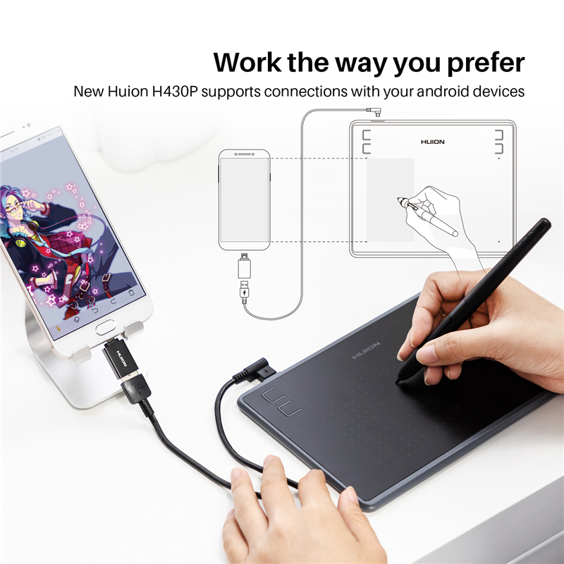 Image 2 - HUION H430P Graphics Drawing Digital Tablets Signature Pen Tablet