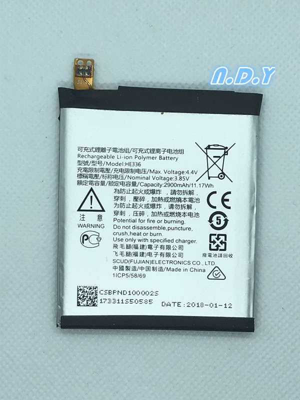 Original  HE336 2900mAh Battery For Nokia 5 Dual SIM, 5 Premium Edition Dual SIM, HMD Heart, Nokia 5, TA-1044