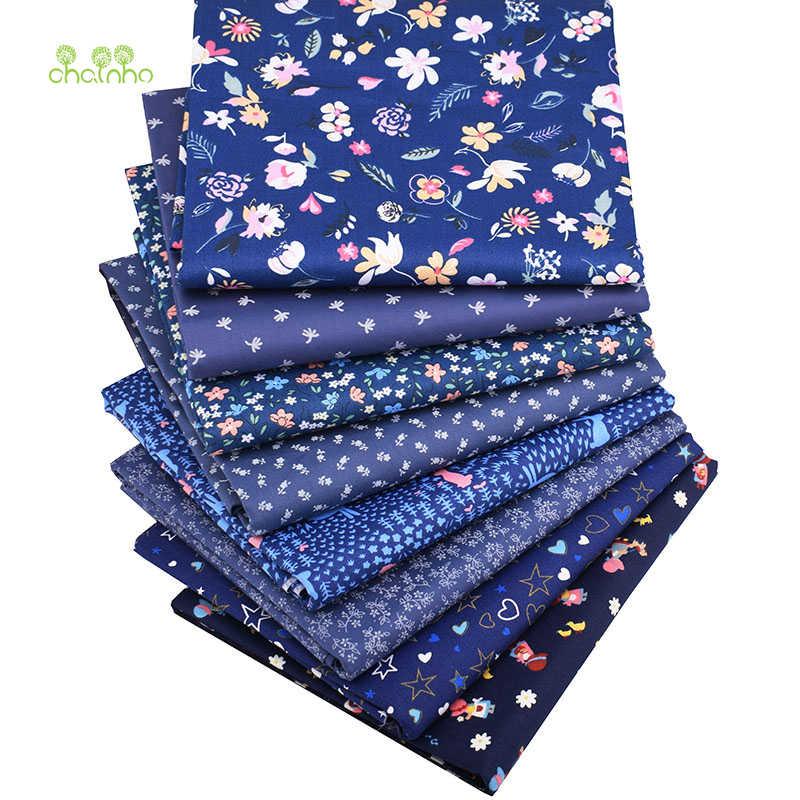 Chainho,8 개/몫, 진한 파란색 꽃 시리즈, 인쇄 능 직물 코 튼 원단, 패치 워크 천으로 ForDIY SewingQuilting 아기 및 ChildrenMaterial