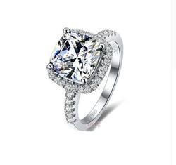 TR007 1/2/3 quilates cojín cortado SONA gema sintética solitario anillo de compromiso para mujer