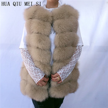 Vest Coat Jackets Natural-Fur 70CM Women for Winter Fox-Fur Multi-Color-Optional