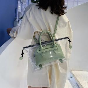 Image 3 - JIULIN חדש ג לי שקוף bag2019 חדש קיץ טרי יד כף כנף תיק קוריאני חד כתף אלכסוני תיק גדול תיק