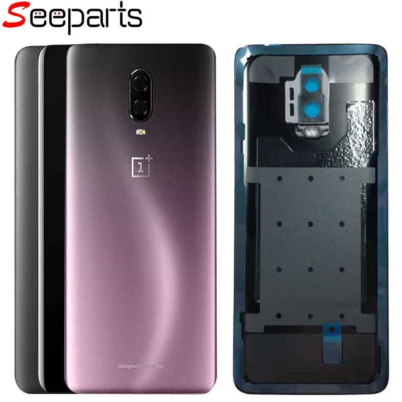 Battery Cover For Oneplus 6 Back Glass Rear Housing Cover Replacement Back Door Battery Case For Oneplus 1+6 6T With Camera Lens