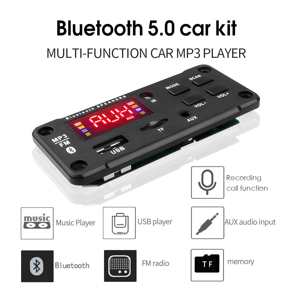 Kebidu 2*25 Вт MP3 декодер плата 5 в 12 В большой цветной экран Bluetooth5.0 автомобильный аудио USB TF FM радио модуль для автомобиля аудио музыкальный динам...